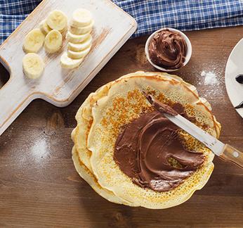Crêpes<br> banana e cioccolato
